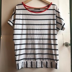 THE LIMITED White Black Striped Short Sleeve Top